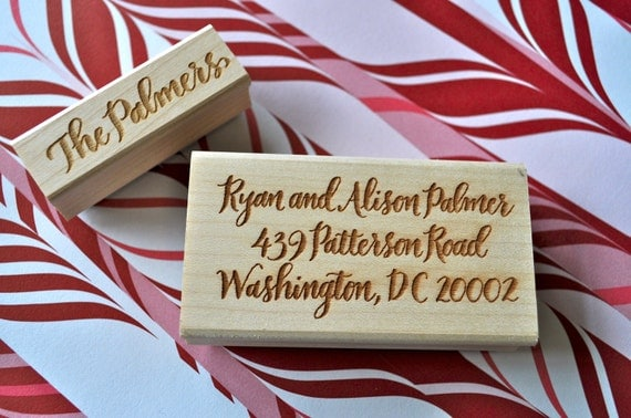 Custom Calligraphy Return Address and Stationery Stamp Set - Palmer Lettering Style
