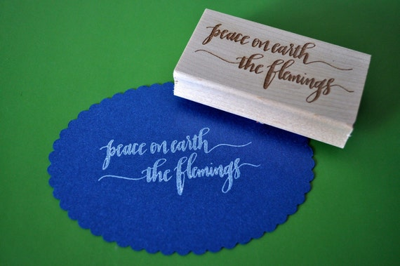 Custom Calligraphy Holiday Gift Tag Stamp (Large)