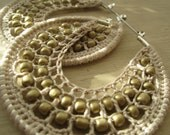 Crocheted hoops with beads in Sand