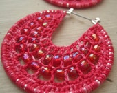 Candy pink Crocheted hoops with beads