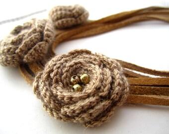 Romantic Roses crochet necklace/headband, versatile necklace , boho jewelry