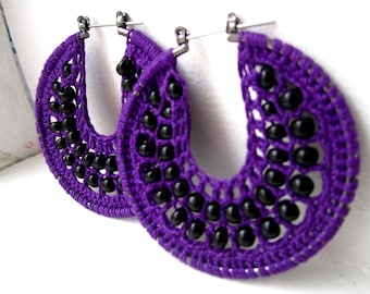 Spooky night Crocheted hoops with beads