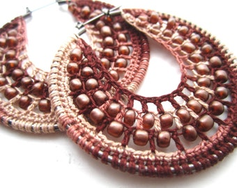 Crocheted hoops with beads in Brown