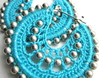 Crocheted hoops and silver beads