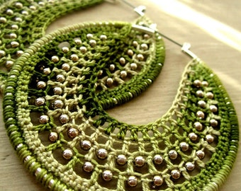 Crocheted hoops with beads lemon and lime
