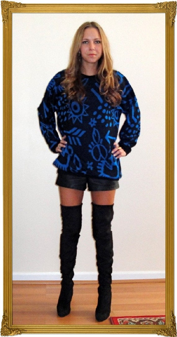 CLEARANCE ///  Hello 80s - Black and Blue Geometric Shapes Sweater
