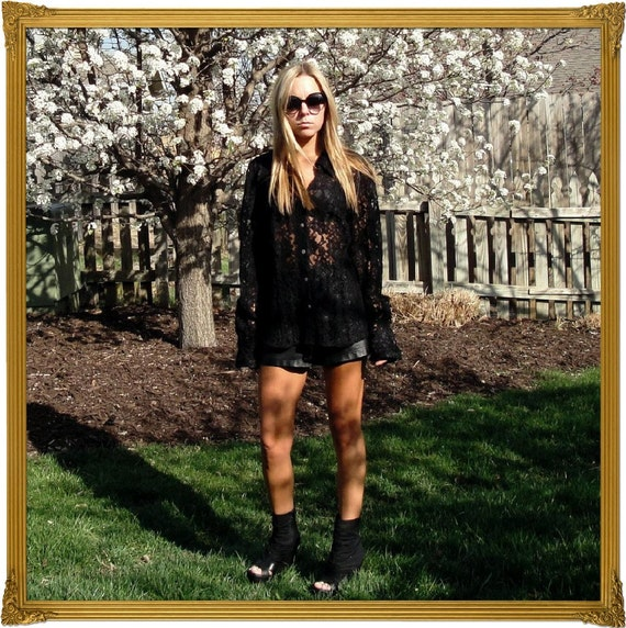 CLEARANCE /// Thick Black Lace Blouse