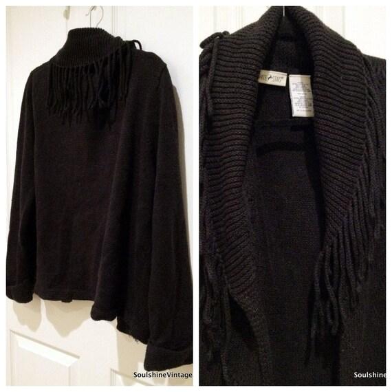 CLEARANCE /// Vintage Black Fringe Sweater