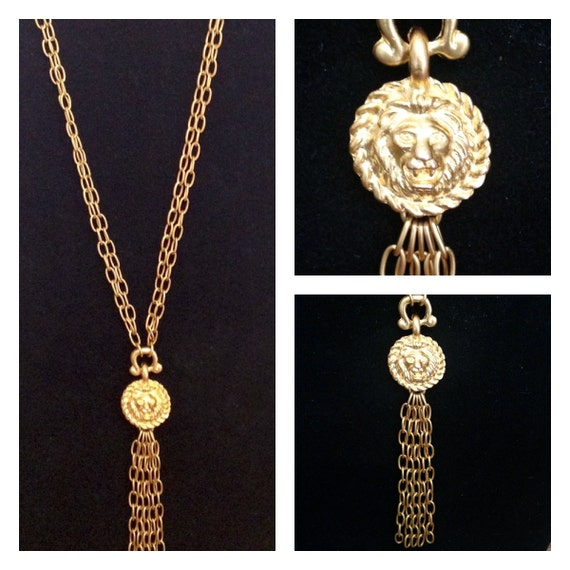 Vintage Lion Head Tassel Necklace
