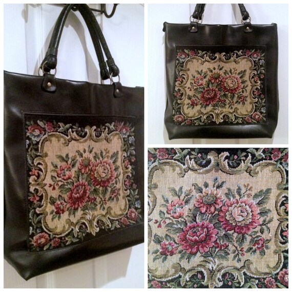 CLEARANCE /// Vintage Black Tapestry Tote
