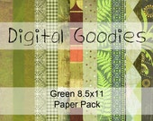 Digital Paper Pack 8.5x11 Green Pages Zip File