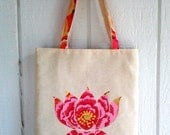 Pink Lotus Flower Appliqued Tote  in Kaffe Fasset Print