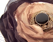 Black and Gold Fabric Brooch or Hair Clip
