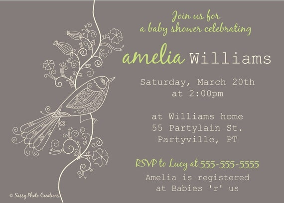 Elegant bird baby shower invitation, DIY printable, personalized