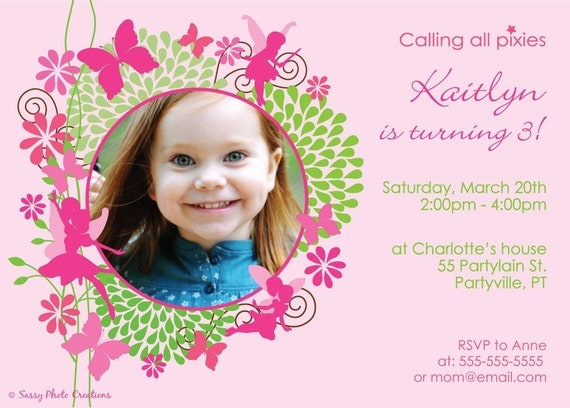 Fairy birthday invitation, printable photo cards