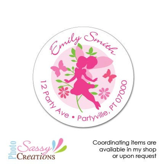 Fairy address labels, Fairy party stickers