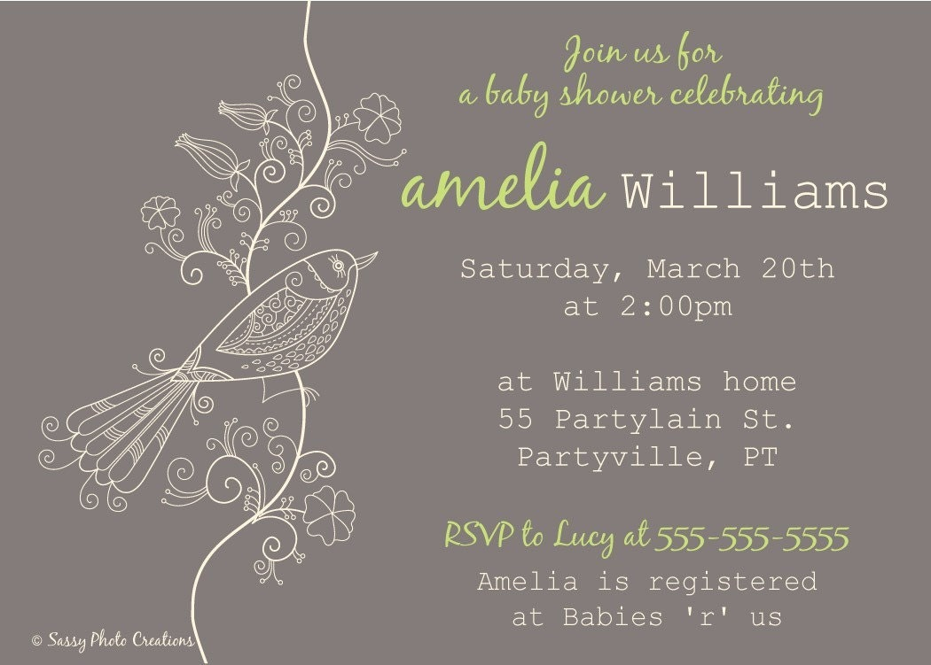 elegant bird baby shower invitation diy printable