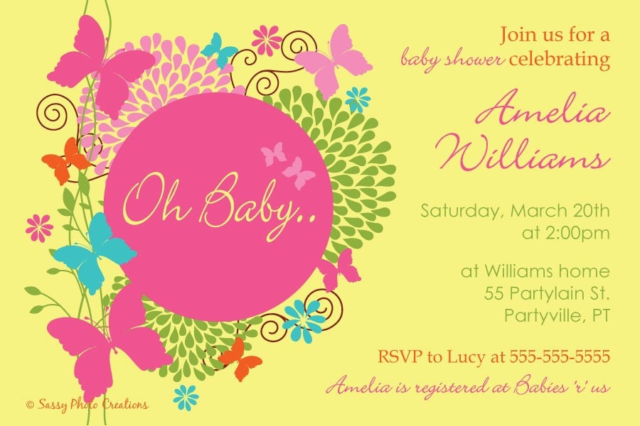 Butterfly Baby Shower Invitation with great invitations design