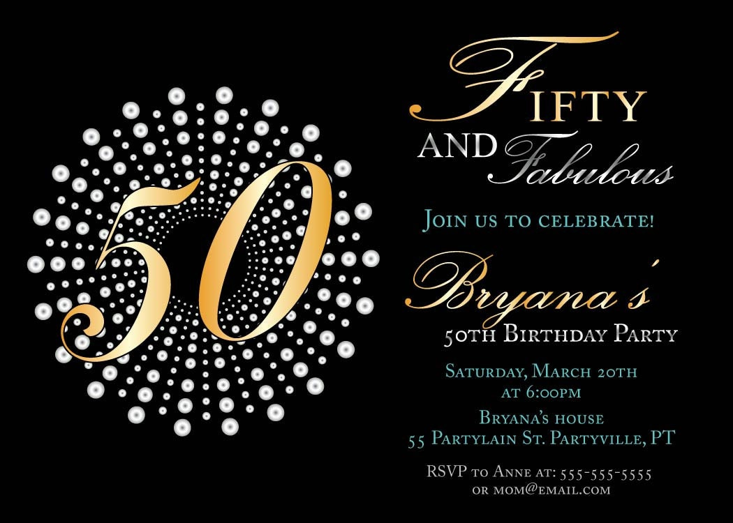 fifty and fabulous birthday invitations by sassyphotocreations