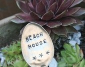 Silverware  Garden Marker  Beach House and Starfish sign recycled silver plated flatware