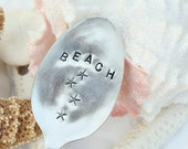 Antique beach and starfish silverware garden marker sign recycled wedding favor gift tag