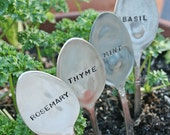 Basil Mint Rosemary Thyme silverware garden marker set silver plated  flatware