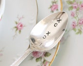 Vintage Hugs and Kisses XO XO spoon Hand Stamped flatware valentines day, Gift ideas under 15