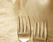 Vintage Silverware yours  mine wedding cake forks silver plated flatware Yours and Mine fork set