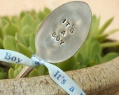 Vintage Silverware It's a boy baby decoration, baby shower, garden sign new silver plated spoon