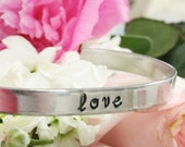 Love with heart skinny hand stamped metal cuff bracelet aluminum