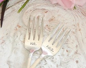 Mr. Mrs. forks vintage silver plate Mr and Mrs wedding cake forks Imperial 1939 by beachhouseliving