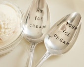 Vintage my ice cream your ice cream silver plated spoon set  recycled  flatware  beachhouseliving  on etsy