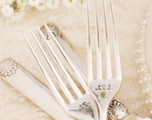 Beach Wedding Forks set vintage  silver plated flatware. Shells