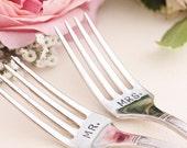 Mr. Mrs. Wedding Cake Forks, Wedding Table Setting, Recycled Vintage Forks  1938 Grenoble - Art Deco Vintage Modern