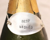 Best Wishes Wine Bottle Tag: Rustic Hand Stamped  Silverware Wine Bottle Accessories Wine Marker On Sale Now.