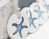 Starfish Gift Tags Clay : Hand Stamped White Clay Tags Navy Blue Starfish Set of 4 Coastal Beach Nautical Gifts