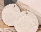 Coral branch ornament: White Clay hand stamped Coastal Christmas Decoration. Window decor.