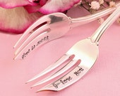 I Love You Love is Sweet  Fork Set:  Valentines day  hand stamped wedding silverware