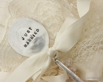 Just Married Wedding Cake Topper Antique Silverware Garden  Marker sign recycled silver plate flatware