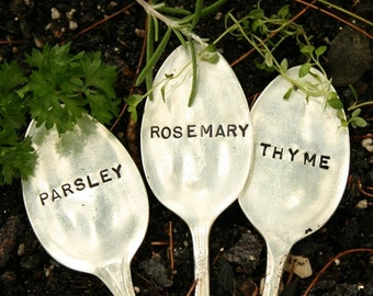 Recycled Silverware Garden Markers  Set of 3  Parsley Rosemary Thyme silver plated flatware beach house living etsy