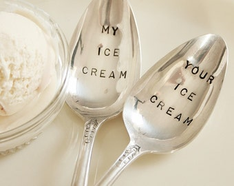 Vintage my ice cream your ice cream silver plated spoon set  recycled  flatware  beachhouseliving  on etsy 2