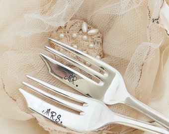 Mr and Mrs Forks for the Bride and Groom  Vintage Pasty or Cake forks  Petite Loxley