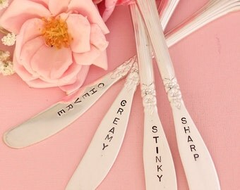 Cheese Knives Hand Stamped Silverware Hostess and Gourmet Gifts under 75
