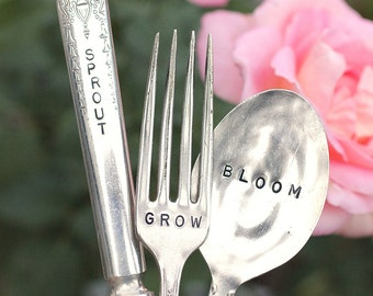 Sprout Grow Bloom Silverware Garden Markers silver plated knife fork and spoon set. Earth Day, Mothers Day