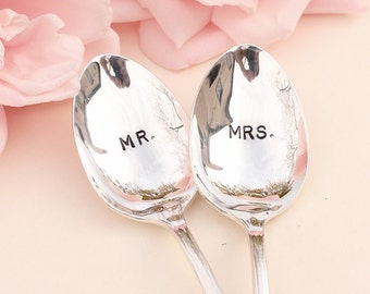 Mr. Mrs. Spoons: Hand Stamped Wedding Silverware Coffee Spoons Silver Plated Stamped Spoon 1985 Enchantment New