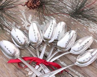 Inspirational Spoons. 8 Christmas Spoons  Believe Dream Faith Hope Joy Love Peace Wish  Rustic Shabby