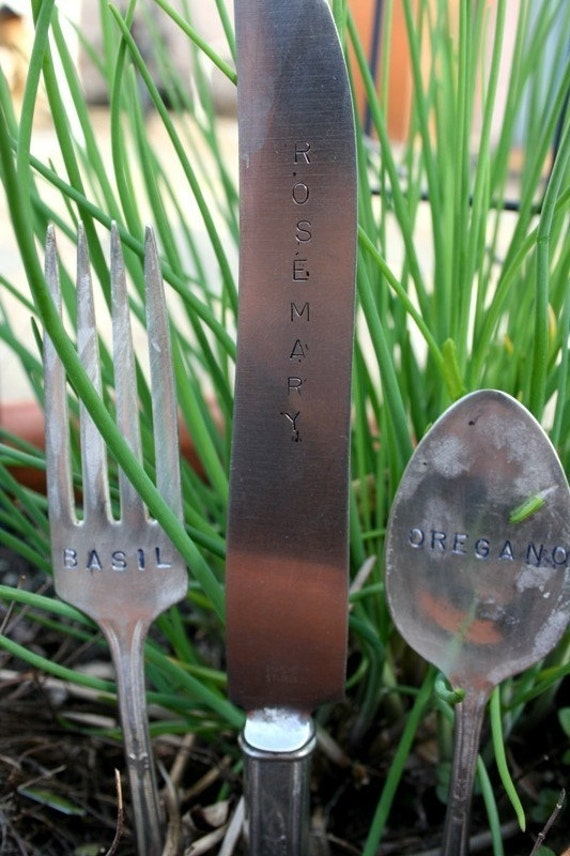 Custom Vintage Silver plated flatware Garden Markers knife fork and spoon set