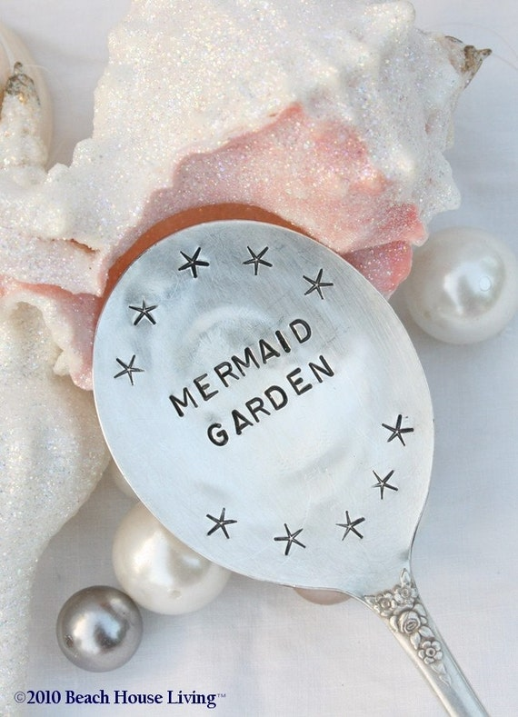 Mermaid and Starfish Silverware garden marker sign recycled vintage silver plate flatware
