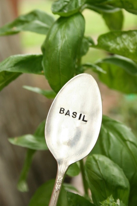 Garden Marker Basil Vintage silverware Recycled silver plate.