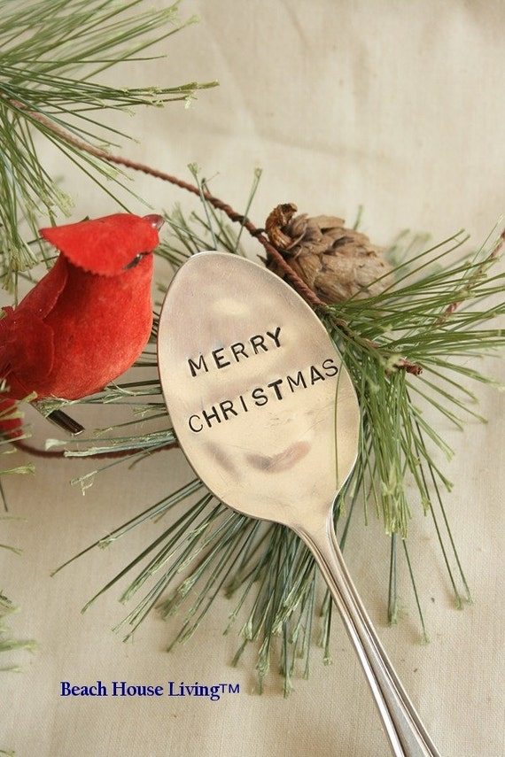 Vintage silverware  garden marker   Merry Christmas silver plated flatware holiday decoration